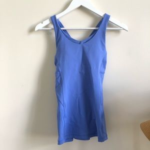 Lululemon blue cris cross tank with shelf bra